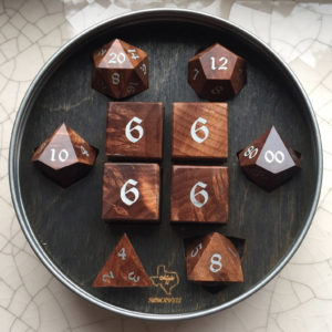 Artisan Dice - Redwood Burl with Aluminum Inlay - picture by Melissa of GDH