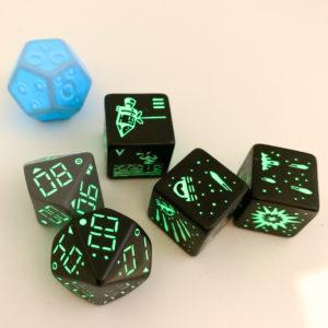 Glow in the dark dice from the Gio Lasasr Apollo 50th Anniversary Kickstarter