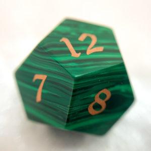 Artisan Dice - Malachite with Copper Inlay - d12 macro shot