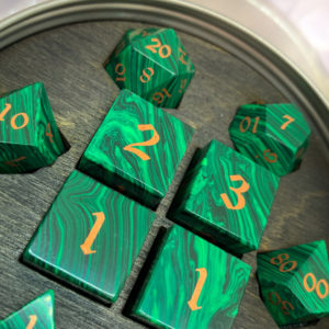 Artisan Dice - Malachite with Copper Inlay - in packaging
